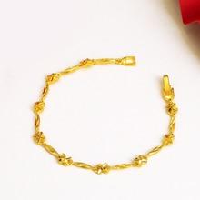 MxGxFam(18 см) Чистый золотой цвет милый браслет с маленькими цветами для женщин модные личные не вызывающие аллергию украшения