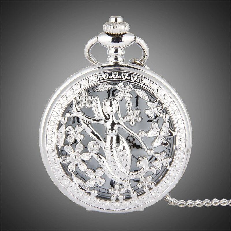8002   TFO Pocket Watch Silver Hollow Petals Surround Dancing Mermaid Design Pendant Ladies Fashion Gift Necklace