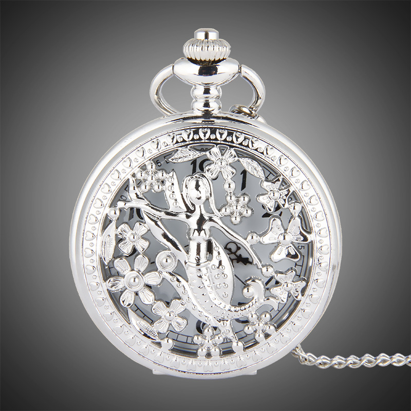 TFO Pocket Watch Silver Hollow Petals Surround Dancing Mermaid Design Pendant Ladies Fashion Gift Necklace