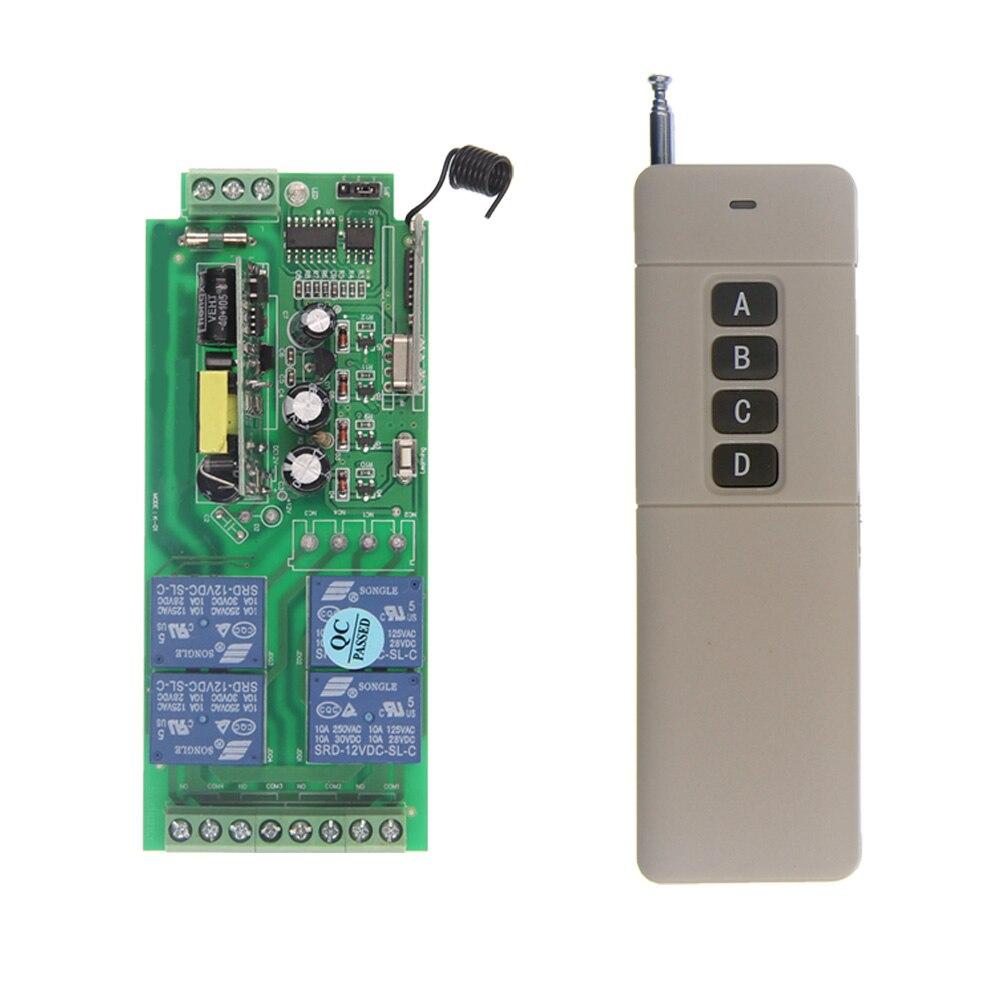 3000m AC 85V-265V 110V 220V 4 Channel 4CH RF Wireless Remote Control Switch System Receiver + Transmitter, 315 433.92 MHz dc24v 8ch rf wireless remote control switch 8 receiver