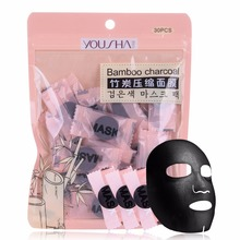 YOUSHA 30PCS SET DIY Compressed Black Mask Paper Faciales Bamboo Charcoal Fiber Deep Cleaning Adsorption blackhead