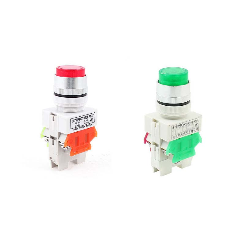 1pc 600V 10A 6 Terminals Red Green Latching Pushbutton Switch w 220V /24V LED Lamp Y090-11DNZS LAY37 22mm 660v ui 10a ith 8 terminals rotary cam universal changeover combination switch