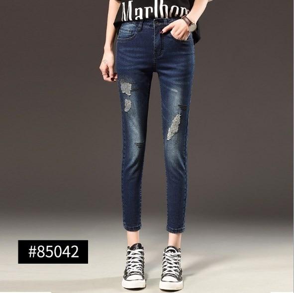 2019 nouveau femme taille haute Skinny Jeans longueur cheville printemps automne taille haute grande taille Jeans pour femmes 5XL 6XL 7XL