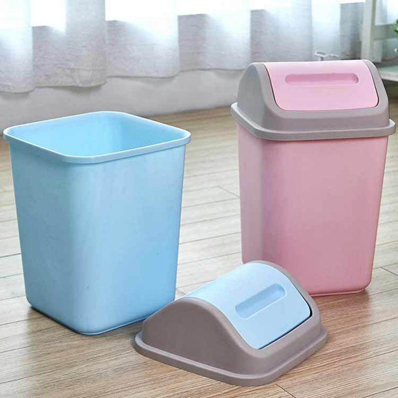 Home Shaking Lid Trash Creative Plastic with Plastic Cover Clean The Barrel Convenience Trash Bin Household Cleaning Tools