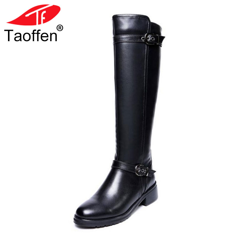 Taoffen Women Flats Boots Real Leather Women Winter Shoes Plush Fur Knee Boots Metal Buckle Fashion Ladies Shoes Size 33-43 taoffen winter real leather boots thickened fur women boots short ankle snow boots lady buckle footwear women shoes size 33 42