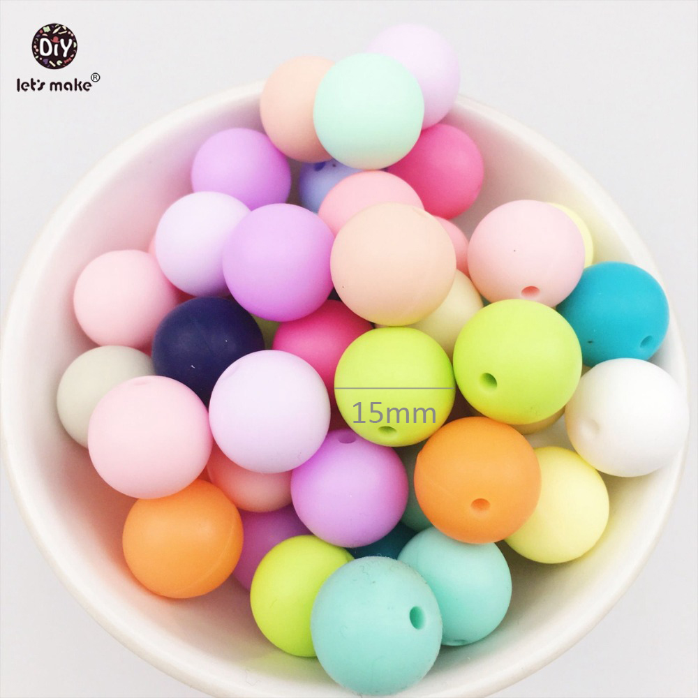 Let's Make Silicone Teething Beads Round Loose Organic Nusring Jewelry Baby Chew Balls (15mm 150pcs)Food Grade Colorful Gift DIY