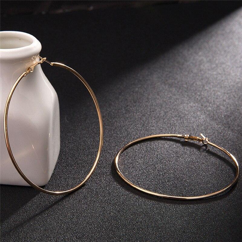 2018 Big Circle Smooth Large 8cm 10cm Fashion Gold Silver Hyperbole Ear Metal Hoop Earrings women circle