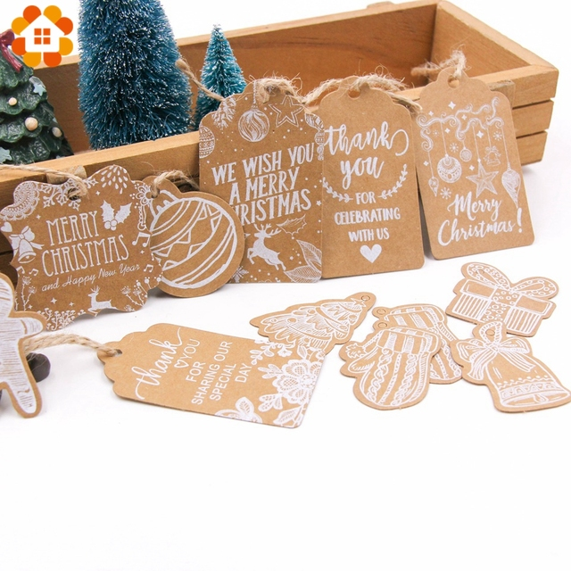 50 قطعة متعددة نمط عيد الميلاد سلسلة كرافت ورقة العلامات DIY بها بنفسك الحرف علامة تعليق مع حبل عيد الميلاد تسميات حفلة هدية التفاف لوازم