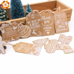 Image 1 - 50 sztuk wielostylowy seria bożonarodzeniowa zawieszki z papieru pakowego DIY rzemiosło wisząca etykietka z liny boże narodzenie Party etykiety artykuły do pakowania prezentów