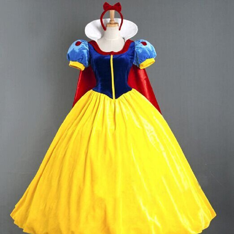 Cosplay Costume Snow White One-piece Dress Size Adult Children Including Hair Band And Pannier