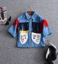 Fashionable tassels jean coat 2017 spring summer woman's chic applique cartoon head Denim jacket