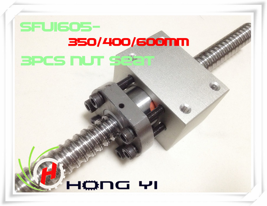 RM1605 Ballscrew -L350/400/600MM-C7 Anti Backlash Rolled Ballscrew +3pcs sfu1605  Ball nut Housing Bracket Holder CNC X Y Z