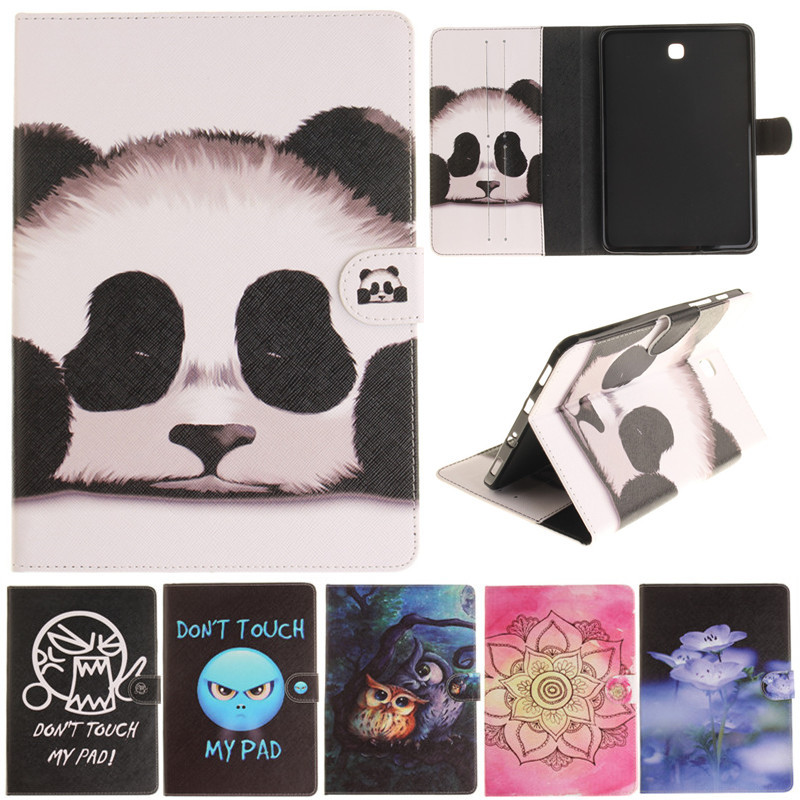 Fashion Cantoon Panda Owl Flower Painted Flip PU Leather For Samsung Galaxy Tab S2 8.0 T710 SM-T715 T715 Tablet Case Cover Shell