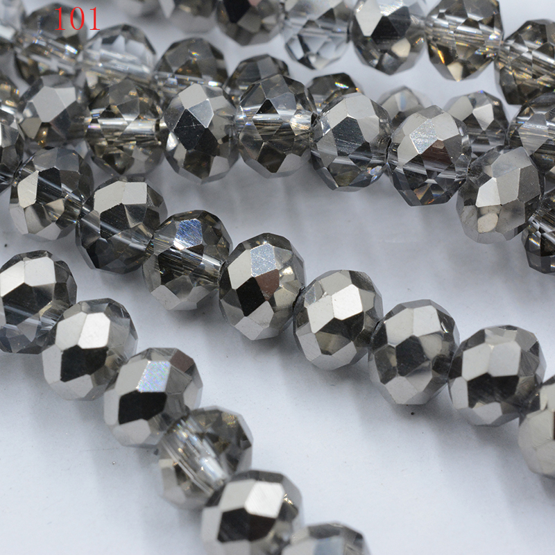 50 Piece Gray AB Color Crystal Glass Faceted Beads Rondelle Jewelry Making 4-8mm