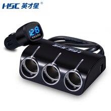 HSC 2 Переходник USB для зарядки в машине 3 в 1 с автомобильным прикуривателем с синим светодиодный вольтметр для смартфона Автомобильная камера DVR gps