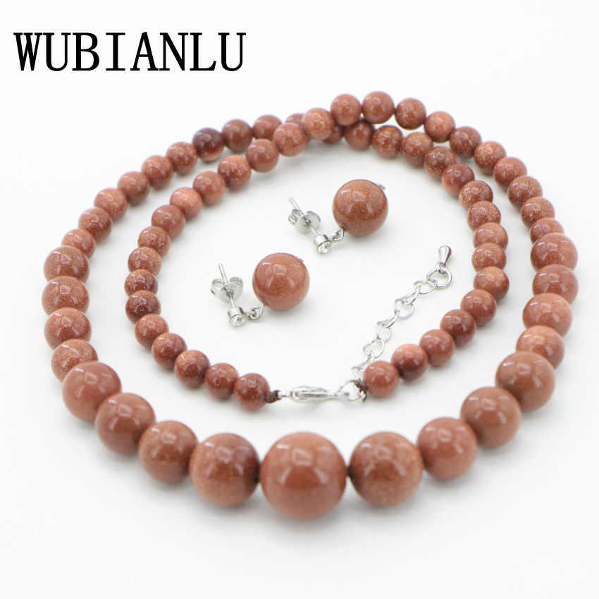 "WUBIANLU סיטונאי 6-14 מ""מ חרוזים עגולים אבן חול זהב ירוק כחול חליפת עגילי שרשרת תכשיטי אישה אופנה טבעי סגנון"