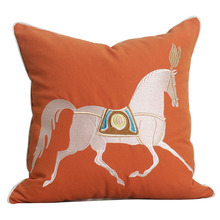 Simple modern Chinese embroidered horse pillow bedroom living room sofa cushion cover car office Cushion Cover