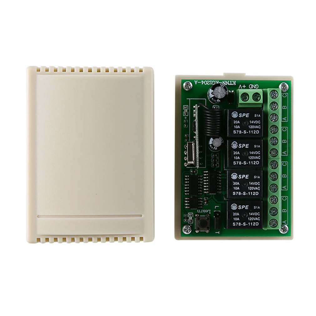 DC 12V Multi-function Switch Learning Type 4 Way Receive 433MHz Wireless RF Remote Control Switch ASK Modulation
