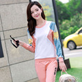Весна и осень костюм для женщин футболка и брюки свободного покроя спортивной двух частей устанавливает 9607 Большой размер м-4xl