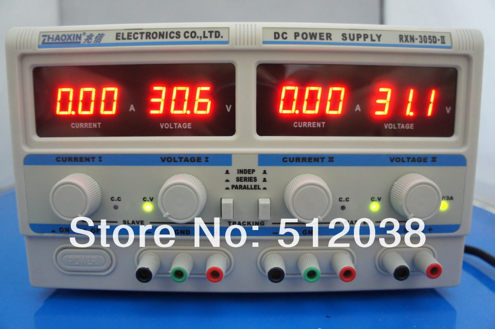 RXN-305D-II:Triple-output Linear DC Power Supply (two adjustable 0-30V/0-5A and one 5V/3A fixed ouput) rxn 305d ii 0 30v 0 5a two circuit output cocurrent voltage stabilized source fixed output 5v 3a adjustable dc power supply