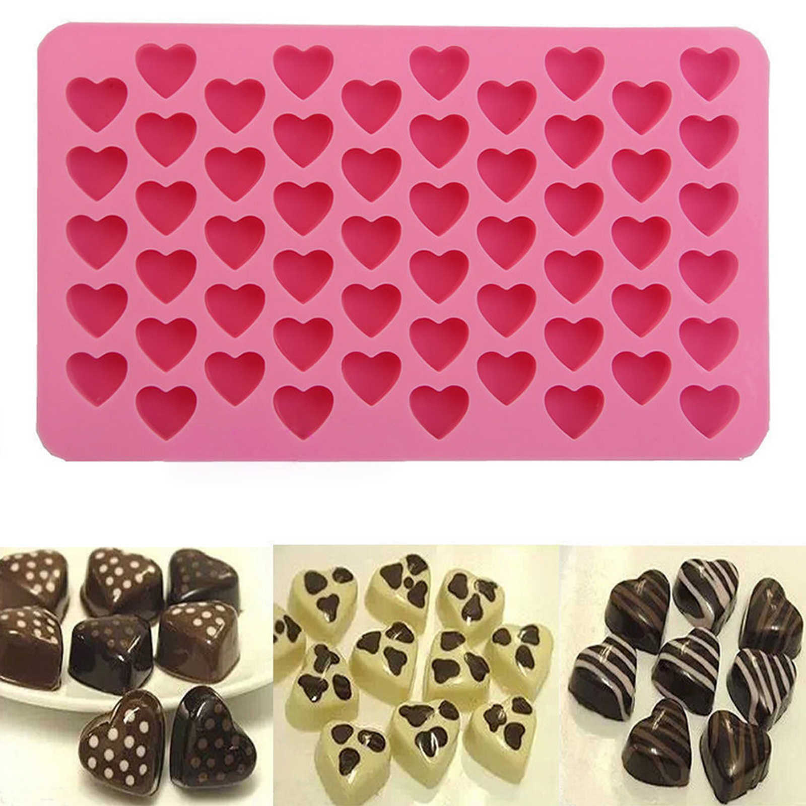 Silicone Mold Cute Mini Heart Shape Silicone Ice Cube Chocolate Baking Candy Soap Mold Making Cake Bread Mousse Jelly Chocolate