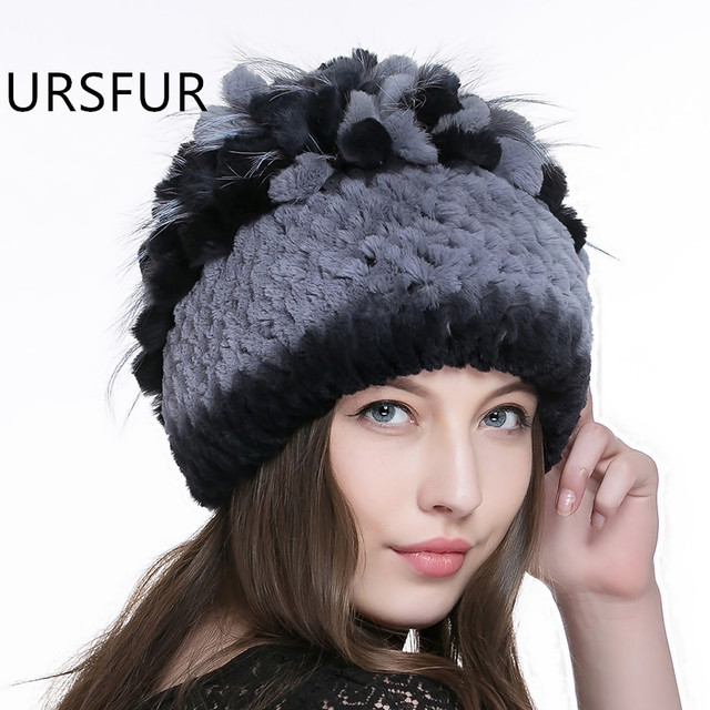 URSFUR Knit Rex Rabbit Fur Beanie Hat Women's Cap with Fur Pompom Top Female Stripe Knitted Skullies  Russia Beanies caps