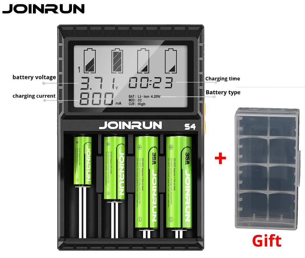 JOINRUN S4 Smart Li-ion Battery Charger With LCD Screen Intelligent 18650 Rechargeable Battery Charger 14500 16340 26650 AAA AA joinrun s4 18650 charger lcd smart li ion charging for 18650 14500 16340 26650 with dc 12v car charger for a aa aaa batteries