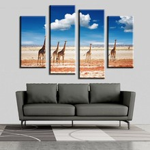 2017 Unframed Canvas Beautiful Animal Giraffe Landscape Print Painting Home Decoration(China)