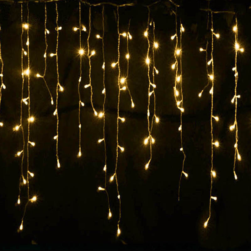 New Year 5M 16.5ft LED Curtain Icicle String Light 96LED Droop 0.4m 0.5m 0.6m Fiary Garland for Christmas Home Indoor Decoration