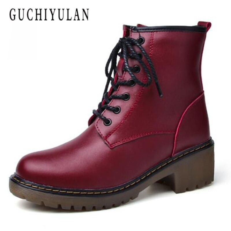 Новый стиль Модные из натуральной кожи армейские ботинки черные кожаные с заклепками Для женщин ручной работы Ботильоны на шнуровке для де...