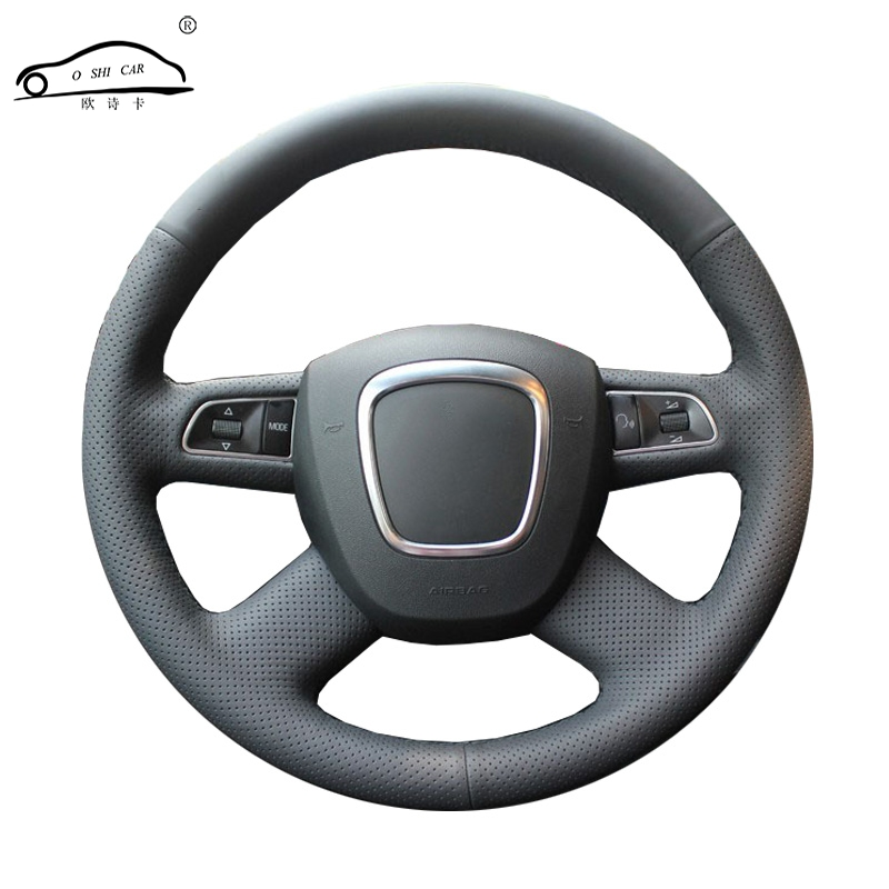Artificial Leather car steering wheel braid for Audi Old A4 B7 B8 A6 C6 2004-2011 Q5 2008-2012 Q7/Custom made Steering cover