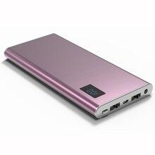 Caja de Metal ultrafino de Polímero Banco de la Energía 12000 mah LCD Dual USB Cargador Portátil de Batería Externa powerbank Para xiaomi iPhone 5S