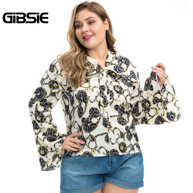 GIBSIE Plus Size Chain Print Bow Tie Neck Long Sleeve Shirt Women Tops Autumn Fashion Elegant Office Lady Workwear Women Blouses