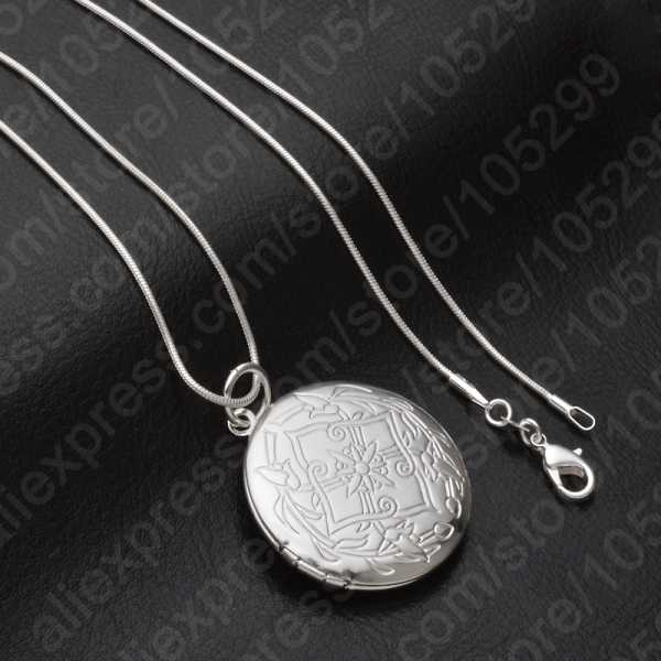 New 925 Sterling Silver Jewelry Round Photo Locket Necklace Pendant Best Gift For Women Girl