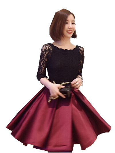 87790474aac High quality 1 piece lot new style fashion lady dresses lace sleeve girlish fashionable  dress black red wholesale and retail-in Dresses from Women s ...