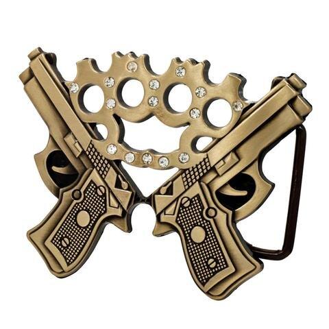 Double Gun Jeweled Brass Knuckles Belt Buckle Gun Pistol