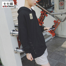 Metal Drawstring Black Hoodies Men 2017 Spring Fashion Thin Loose Plus Size Hip Hop Oversized Vetements Sportwear Hoodies 5XL