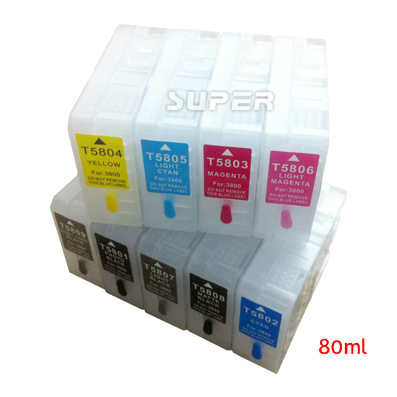 Refillable ink cartridges  T5811-T5819 empty for epson 3800C 3890  printer + sensors on high quality short 121 ink cartridges empty for brother mfc j870dw j650dw j470dw printer with arc chips on high quality