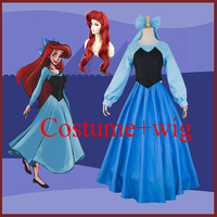 Adult Little Mermaid Costume Cosplay Wig Full Set for Women Halloween Ariel Princess Dress Hair Party Cos