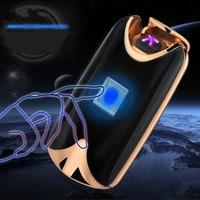 Intelligente USB Arc Leichter Dual Feuer Arc Leichter Fingerprint Induktionslade Metall Winddicht Kein Gas Raucher Zigaretten Geschenk