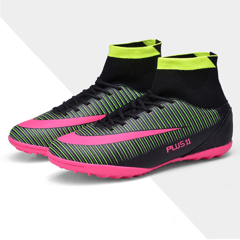 New Men's Youth Soccer Indoor Shoes TF Turf High Top Soccer Cleats Football Trainers Sports Sneakers Shoes EU Size 39--44