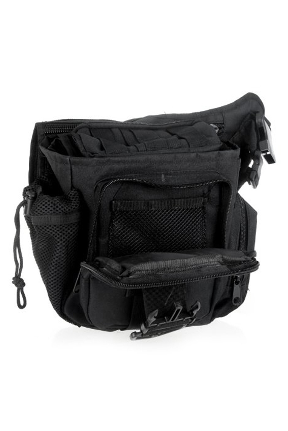 2Pcs 600D Nylon Molle Shoulder Strap Bag Military Push Pack Belt Pouch Travel Backpack Camera Money Utility Bag Black