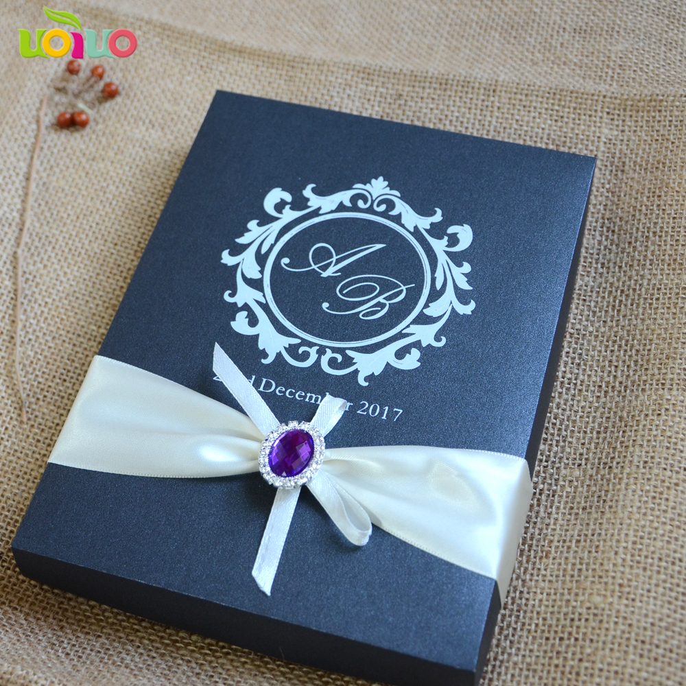 hot sell personalize lace wedding invitation card box hot sell wedding gift popular invitation card model image