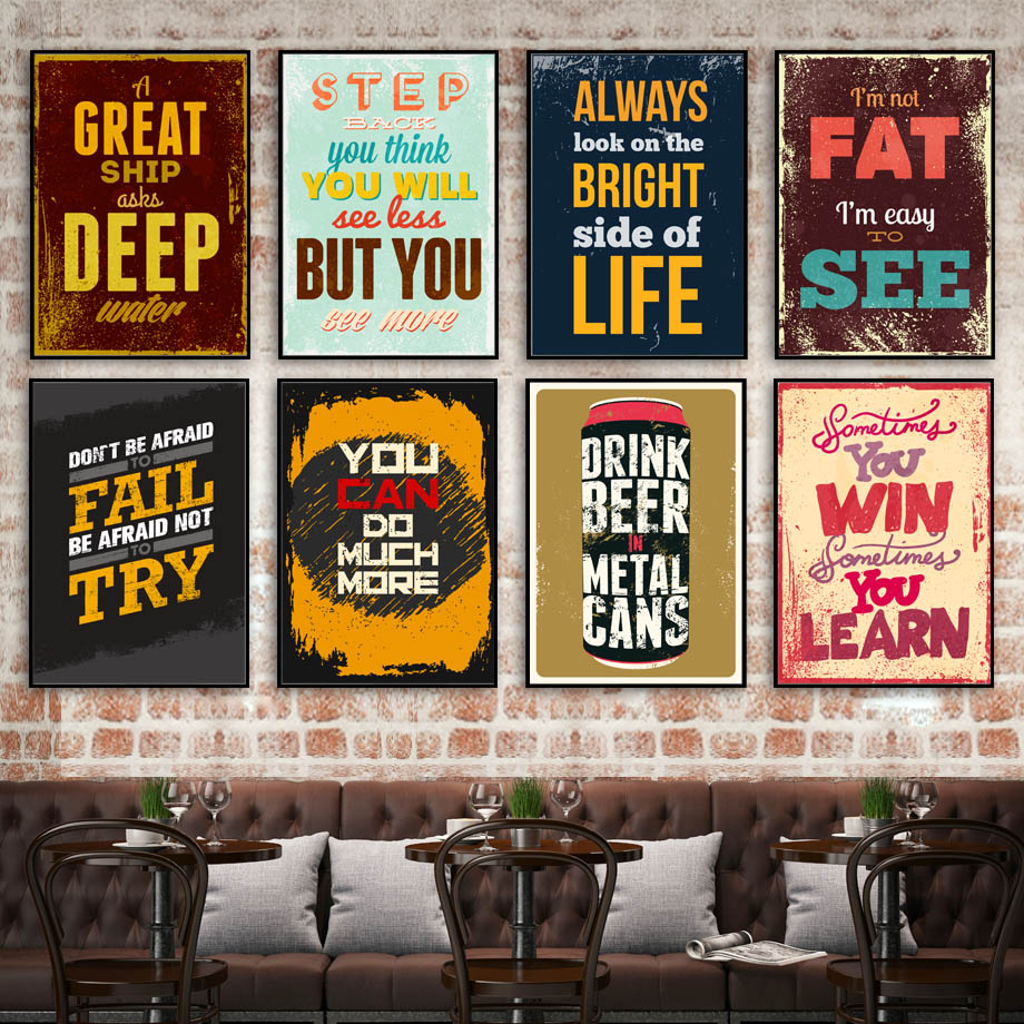 Colorful Retro Life Quotes Wall Art Canvas Painting Club Nordic Posters And Prints Wall Pictures For Living Room Bar Decoration in Painting Calligraphy from Home Garden