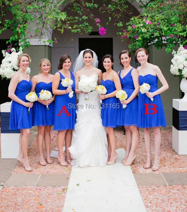 Buy vestido de dama short royal blue for Short white wedding dresses under 100