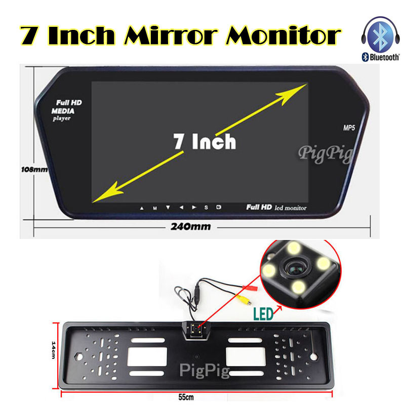Car licence plate Back up Camera with 7 inch Bluetooth MP5 TFT LCD Display Screen monitor mirror USD/FM slot Parking Assist auto backup rear licence plate rearview camera with 7 inch bluetooth mp5 tft display monitor mirror usd fm slot free shipping