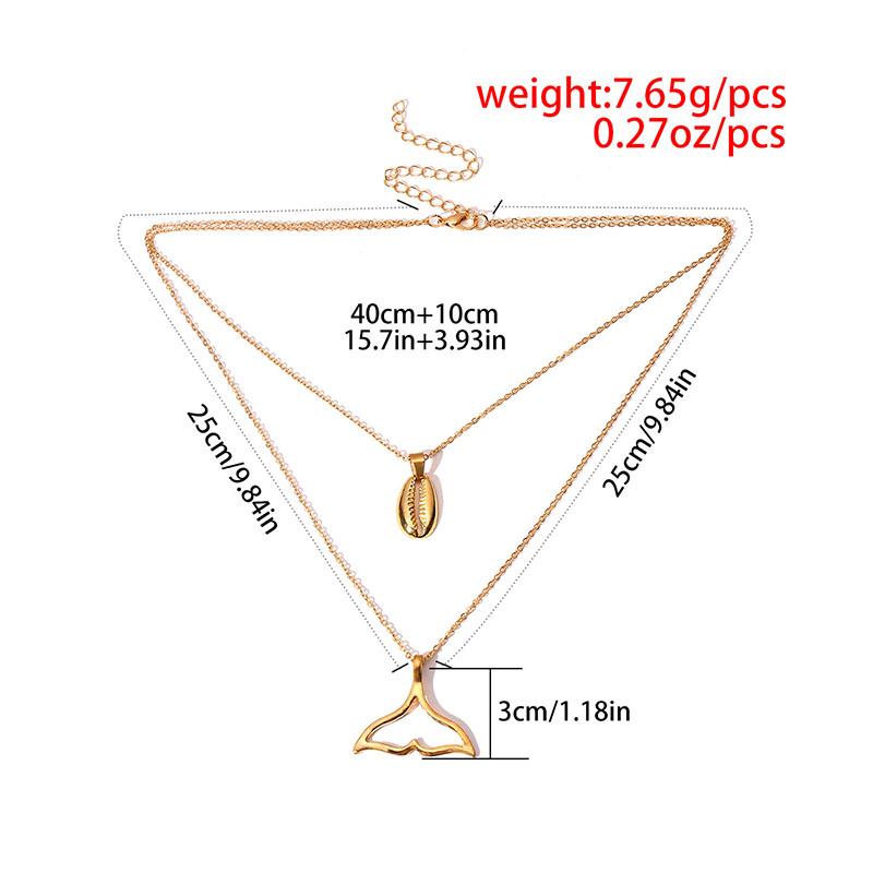 Simple Mermaid Tail Pendant Necklace Women Elegant Gold Silver Shell Chic Double Layers Collar Chains Necklaces Bohemia Collars in Chain Necklaces from Jewelry Accessories