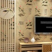 Chinesischen Stil Lotus Blume Tapete Rolle Vlies Tapeten Für Wände  Wohnzimmer Dekorative Tapete Grau Gelb Grün