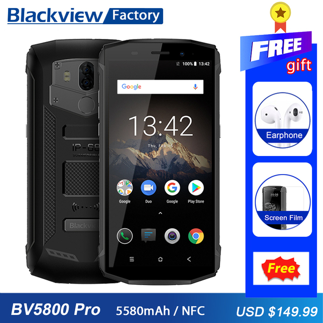 """Blackview BV5800 Pro Waterproof IP68 Smartphone 5.5"""" HD+ Quad Core Android 8.1 13MP+8MP NFC 5580mAh Wireless Charge mobile Phone"""