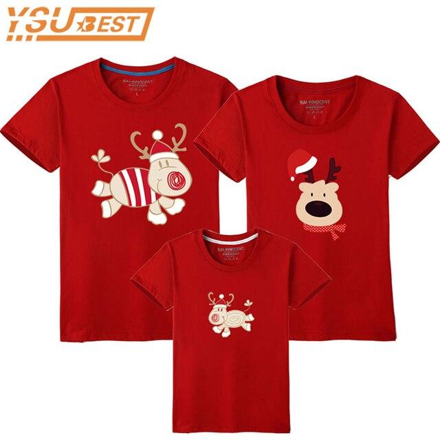 1e32f66ccabf9 Air de famille De Noël Famille Correspondant Tenues T-shirt Mère Fille  Manches Courtes Papa